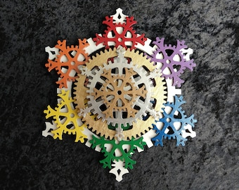 Large 9.5-inch Pride Rainbow Steampunk Tree Topper