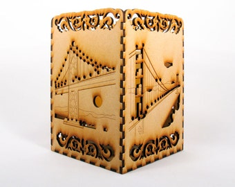 San Francisco 5x7-inch Laser-Cut Patio Lantern with Golden Gate Bridge, Bay Bridge, Cable Car, Ferry Building, Coit Tower, Cathedral