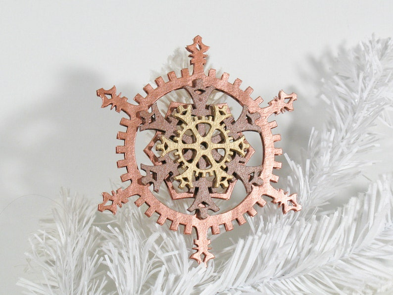 Copper and Gold Warm Metallics 5-inch Steampunk Snowflake image 0