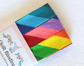 Quilt Binding, Rainbow Stripe Extra Wide Double Fold Bias Tape (3 Yds)