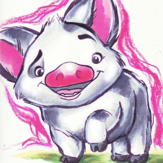 Pua Moana 4x4 Print Disney Cartoon Pig Hawaii Etsy