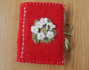 Felted Cashmere Embroidered Sketchbook or Journal, Artist Book. Hand Embroidered. Gifts for Artists. Textiles.
