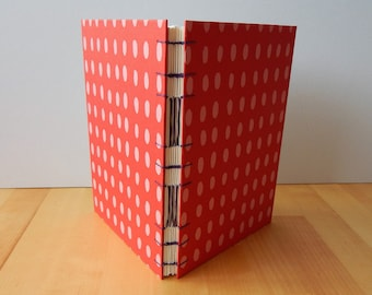 """Artists Sketchbook with Zerkall Paper. 8""""x6"""" / A5. Red & Pink Spot. Art journal, Printer's Sketchbook. Gifts for Artists, for Printmakers"""