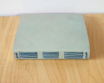 Pale Blue Leather Longstitch Journal with Garden Birds paper lining - Pocket Notebook, Sketchbook, Travel Journal, Garden Notebook