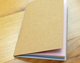 "Rainbow Pastel A5 (8""x6"") Journal Notebook Refill, Kraft cover. A5 or A5 Narrow notebook refill"