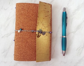 Pearl Fishing Cork A6 Sketchbook, Journal - Gold Leaf and Pearls. Watercolour paper sketchbook. Gifts for Artists. Journaling Gifts.