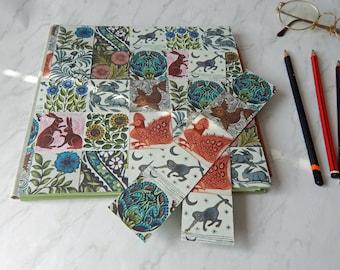 "Sketchbook with Arts & Crafts Tiles and Khadi paper pages. Square 8"" sketchbook, art journal, scrapbook"