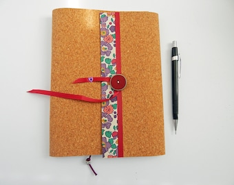 A5 Cork & Liberty Notebook Cover for 3 notebooks. Floral Liberty fabric. Replaceable Notebooks.