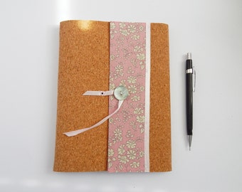 Liberty Fabric & Cork A5 Notebook Cover for 3 notebooks. Pink Liberty fabric. Travellers Notebooks.