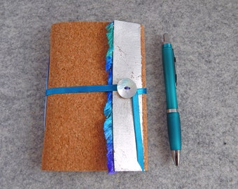 A6 Cork Journal - Seashore - Silver Leaf and Blue trim.  Vacation Journal or Sketchbook.