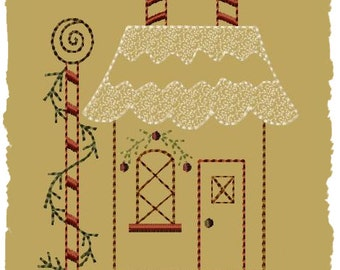 Primitive Machine Embroidery Design-Gingerbread House 2--Version 2-- (5 x 7)--INSTANT DOWNLOAD