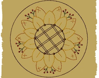 Primitive Machine Embroidery Design-Sunflower Candle Mat-5 Inch-Version 2--INSTANT DOWNLOAD