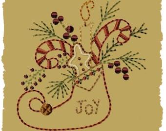 Primitive Machine Embroidery Design-Joy Stocking ~ Version 2--(4x4)-INSTANT DOWNLOAD