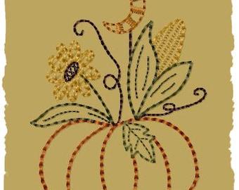 Primitive Machine Embroidery Design-Moonlite Pumpkin--Version 2--(4x4)-INSTANT DOWNLOAD