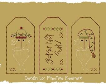 Better Not Pout-3 Tag Designs-Primitive Machine Embroidery-4x4-Version 2-INSTANT DOWNLOAD