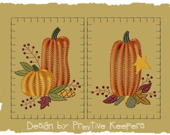 Primitive Machine Embroidery Design-Prim Pumpkin Hand Towel-Version 1-(2 Designs)-Large-INSTANT DOWNLOAD
