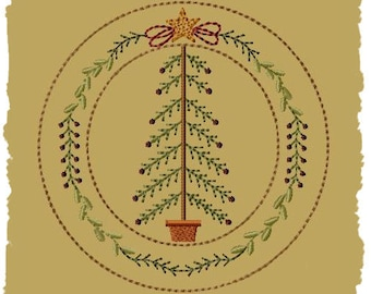 My Christmas Tree Candle Mat--8 Inch-INSTANT DOWNLOAD-Machine Embroidery Design
