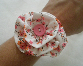 Cherry Blossom Flower Cuff Bracelet