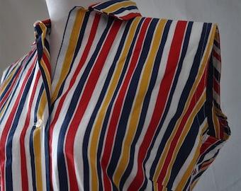 Vintage 60s Loop Collar Ladies Sleevless Blouse Top Large Red Blue Yellow Stripe Cotton NOS
