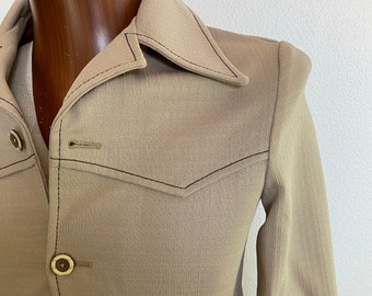 Vintage 70s Tan Polyester Western Leisure Suit Jacket Pointy Collar Teen Size XS 36