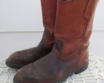 8f525ea8f9b Well Worn Vintage Red Wing Pecos Leather Work Boot 9.5 Wide EE