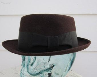 c726d6c0059e2 Vintage Wool Felt Black Lancer by Royal Stetson Brown Color Fedora 7 1 8