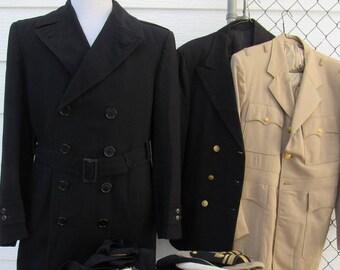 Vintage 50s Us Coast Guard Uniform Lot Black and Khaki Suit Pants Jacket  Suit Long Belted Deck Coat 40 L 4bc95fa93