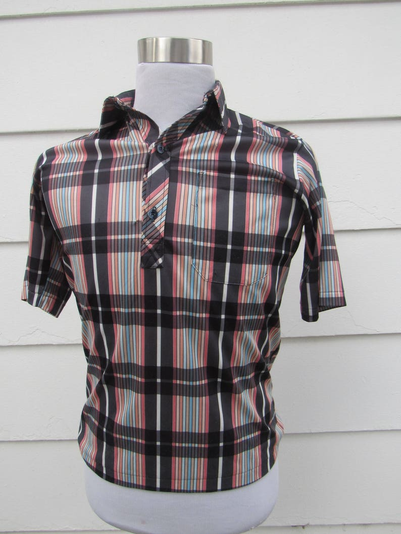 check out 0a969 502b0 1960s Vintage 60s Don Giovanni Jersey Knit Plaid Polo Shirt Small