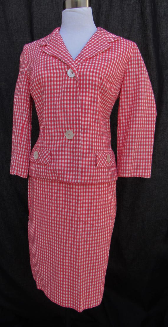 50s Vintage 60s  Red and White Gingham Checkered S