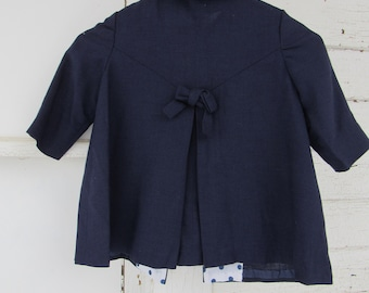 1950s Vintage 50s Girls Navy Blue Wool Bow Back Swing Childrens Jacket 4T 5 Small Polka Dot Accents