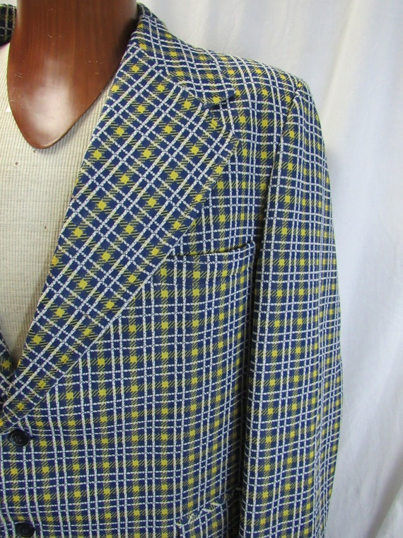 Vintage 1970s Blue Beige /& Yellow Plaid Polyester Blazer