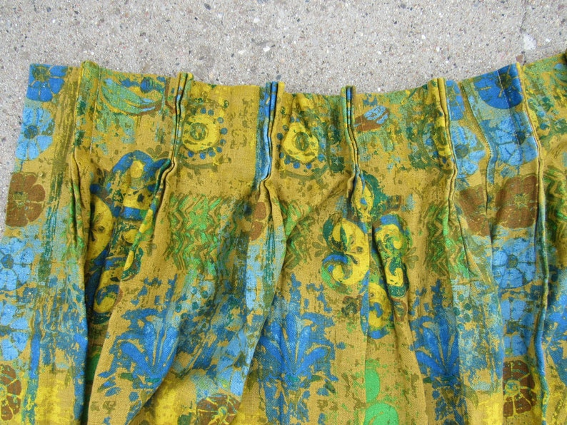 MCM Vintage 60s Classic Mid Century Modern Pinch Pleat Drapes Pleated 45x45 Each Panel Blue Green Curtains 90 x 45 Total