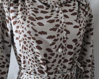 NOS 1970s Vintage 70s Metallic Sparkle Spotted Big Cat Print Leopard Cheetah Knee Length Long Sleeve Fall Dress Large Medium