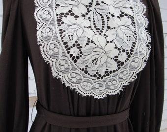 1970s Vintage 70s Dark Brown Renasaissance Style Lace Bib Front Maxi Dress  Medium
