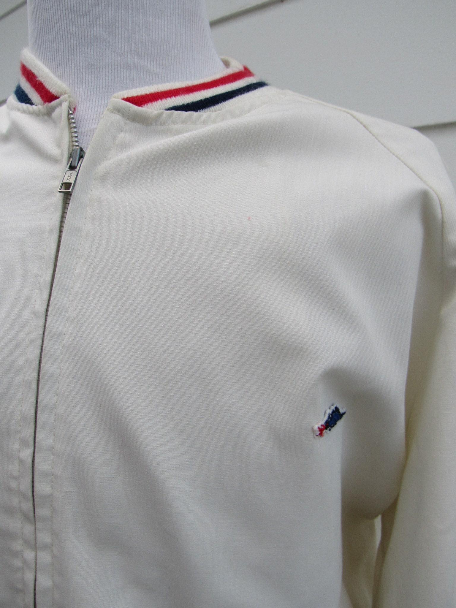 e9248547 Vintage 60s 2XT Big Tall Mens White Wind Breaker Jacket Red | Etsy