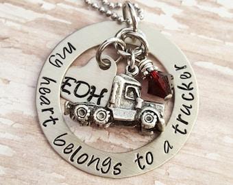 Custom, hand stamped, Personalized, JBK, My heart belongs to a Trucker