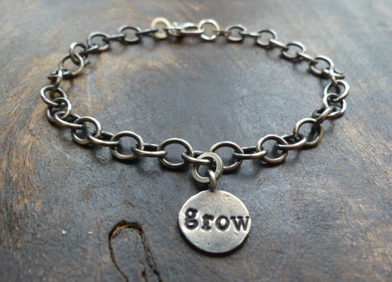 c44af1a5df81e Grow word charm bracelet, oxidized silver link chain, woodland, layering,  ooak. adjustable length