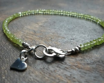 Peridot layering bracelet, heart chakra,  gemstone bracelet, minimalist, august birthstone