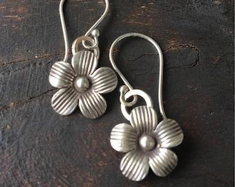 Flower silver earrings- hill tribe silver , dangle earrings, rustic, flower charm, hibiscus