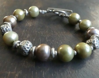 Freshwater pearl bracelet, hill tribe silver, toggle, beaded pearl bracelet, biege-chartreuse color pearls, chunky