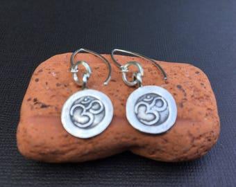Om earrings, Om silver earrings, yoga jewelry, om charm earrings, hill tribe silver