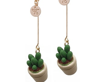 Opalina. Succulent Plant 14K Gold-filled Earrings. Polymer Clay. Miniature Tree. Plant Lovers