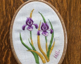 Purple iris embroidery hoop