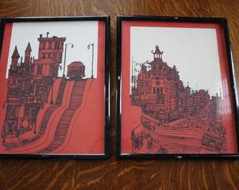 San Francisco Chinatown Cable Car Lithographs by R. Carlson Hambly Studios - set of 2