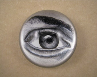 Eyeball Blue Silver Indigo Ice Cube Tentacles Clay Pendant Silver Square Paperweight Lovecraft Horror Science Fiction Steampunk Vintage