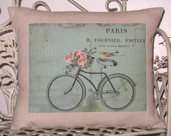 Pillow Cover Vintage Bicycle and Bird Throw Pillow