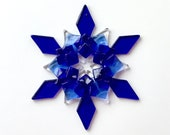 Fused Glass Snowflake Ornament/Suncatcher: cobalt blue, sky blue & clear - thank you gift, teacher gift, winter solstice gift, client gift