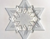 Fused Glass Star of David Ornament: white & clear - grandma gift, hanukkah gift, judaica decoration, fused glass ornament, fused glass art