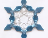 Fused Glass Snowflake Ornament / Suncatcher: dusty blue & clear - teacher gift, snowboarder gift, hanukkah decoration, christmas ornament
