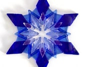 Fused Glass Snowflake Ornament / Suncatcher: cobalt blue, sky blue & clear - client holiday gift, winter birthday gift, winter solstice gift